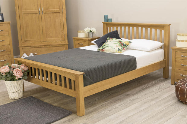Boston Solid Oak Bed Frame - 4ft6 Double - The Oak Bed Store
