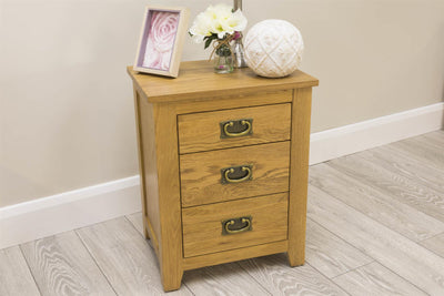 Boston Rustic Solid Oak 2+1 Drawer Bedside Table - The Oak Bed Store