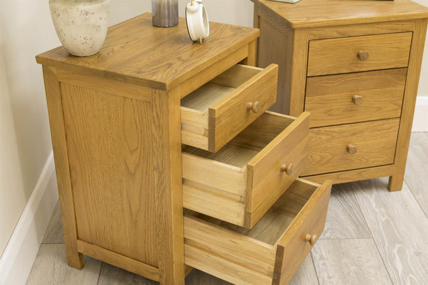 Rustic Solid Oak 2+1 Drawer Bedside Table - The Oak Bed Store