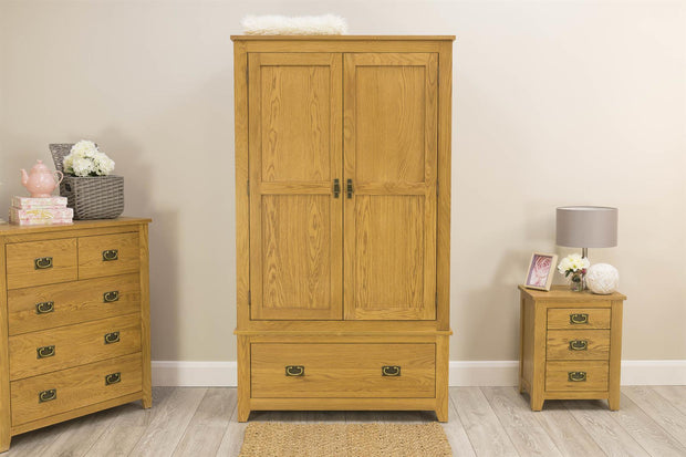 Boston Rustic Solid Oak 1 Drawer Double Wardrobe - The Oak Bed Store