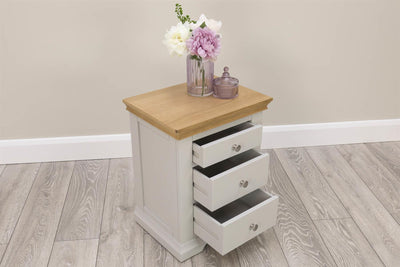 Westcott Light Grey & Oak 2 + 1 Bedside Table - The Oak Bed Store