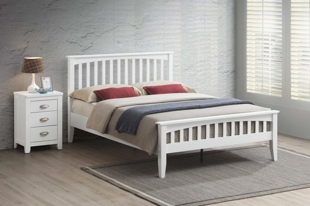 Milan White Wooden Bed Frame - 5ft King Size - The Oak Bed Store
