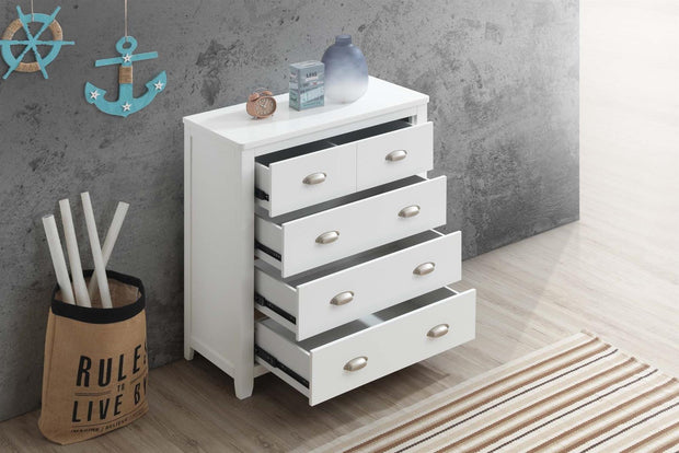 Milan White 4 Drawer Chest of Drawers - The Oak Bed Store