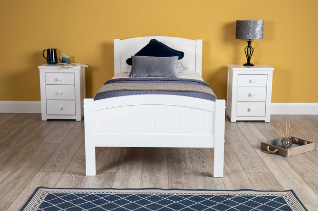 Albany Bright White Wooden Bed Frame - 3ft Single - The Oak Bed Store