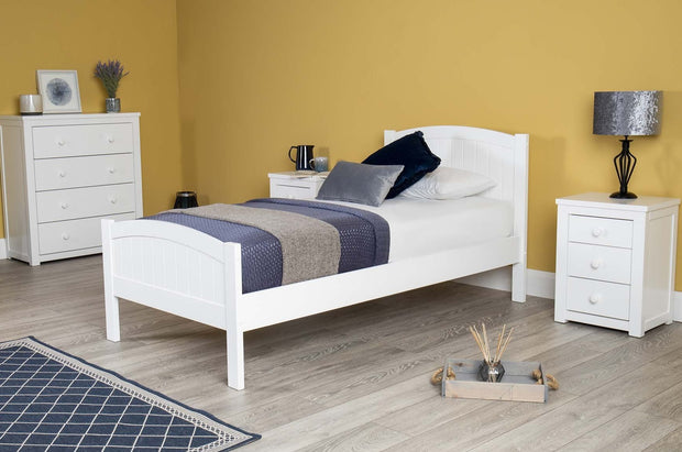 Albany White Wooden Bed Frame - 3ft Single - The Oak Bed Store