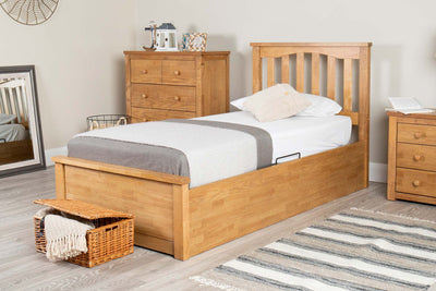 Alexander Medium Oak Ottoman Storage Bed Frame - 3ft Single - The Oak Bed Store