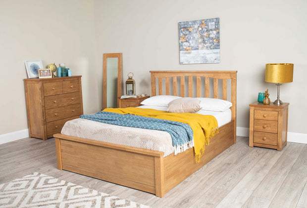 Alexander Medium Oak Ottoman Storage Bed Frame - 4ft6 Double - The Oak Bed Store