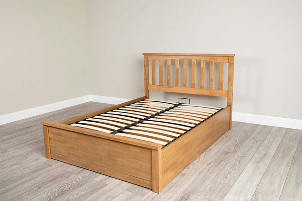 Alexander Medium Oak Ottoman Storage Bed Frame - 5ft King Size - The Oak Bed Store