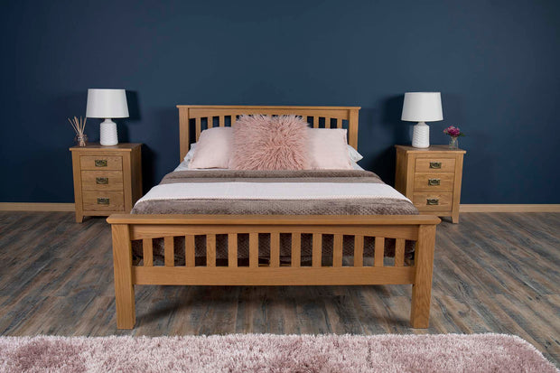 Boston Rustic Solid Oak Bed Frame - 4ft6 Double