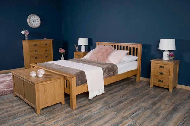 Boston Rustic Solid Oak Bed Frame - 5ft King Size