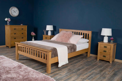 Boston Rustic Solid Oak Bed Frame - 6ft Super King