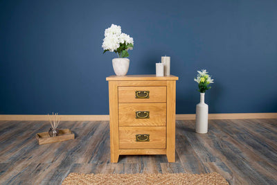 Boston Rustic Solid Oak 2+1 Drawer Bedside Table