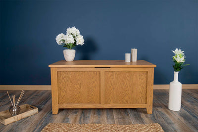 Boston Rustic Solid Oak Blanket Box