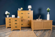 Boston Rustic Solid Oak 4 Drawer Chest of Drawers