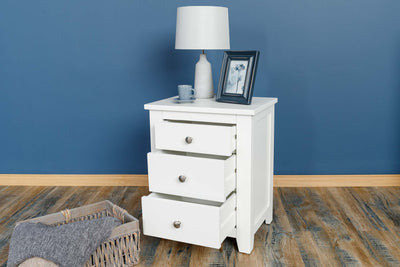 Boston Soft White 2+1 Drawer Bedside Table