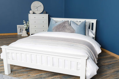 Boston Soft White Solid Wood Bed Frame - 5ft King Size