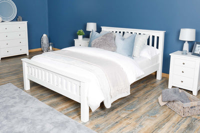 Boston Soft White Solid Wood Bed Frame - 6ft Super King