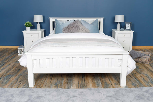 Boston Soft White Solid Wood Bed Frame - 4ft6 Double