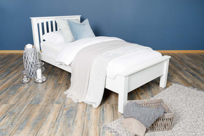 Boston Soft White Solid Wood Bed Frame - Low Foot End - 3ft Single
