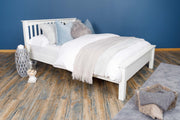 Boston Soft White Solid Wood Bed Frame - Low Foot End - 4ft6 Double