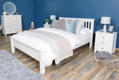 Boston Soft White Solid Wood Bed Frame - Low Foot End - 6ft Super King