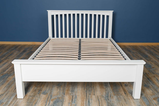 Boston Soft White Solid Wood Bed Frame - Low Foot End - 5ft King Size