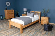 Boston Solid Natural Oak Bed Frame - Low Foot End - 3ft Single