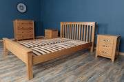 Boston Solid Natural Oak Bed Frame - Low Foot End - 5ft King Size