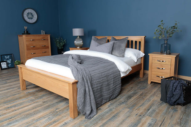 Boston Solid Natural Oak Bed Frame - Low Foot End - 6ft Super King