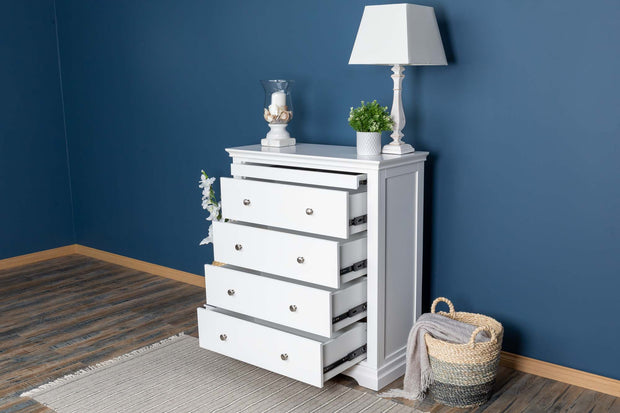Chilgrove Bright White 4 + 1 Drawer Chest of Drawers