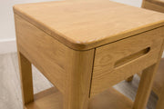 Natural Oak High Drawer Night Stand - Style 11 - The Oak Bed Store