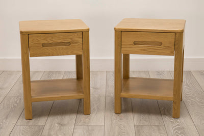 Canterbury Natural Oak High Drawer Night Stand - Set of 2 - The Oak Bed Store