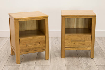 Canterbury Natural Oak Low Drawer Night Stand - Set of 2 - The Oak Bed Store