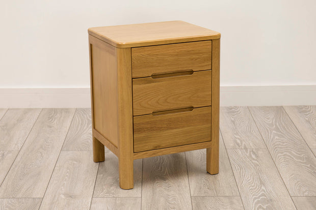 Natural Oak 2+1 Drawer Bedside Table - Style 1 - The Oak Bed Store