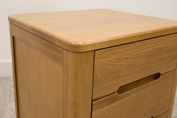 Canterbury Natural Oak 2+1 Drawer Bedside Table - The Oak Bed Store