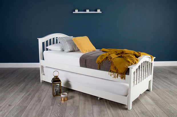 Chelsea Soft White Solid Wood Guest Bed - 2ft6 Small Single - The Oak Bed Store