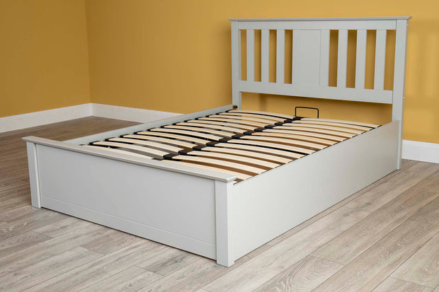Chester Light Grey Ottoman Storage Bed Frame - 4ft Small Double - The Oak Bed Store
