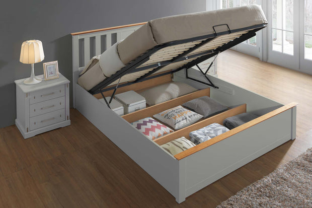 Chester Light Grey & Medium Oak Ottoman Storage Bed Frame - 5ft King Size - The Oak Bed Store