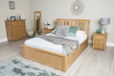 Chester Oak Ottoman Storage Bed Frame - 4ft6 Double - The Oak Bed Store