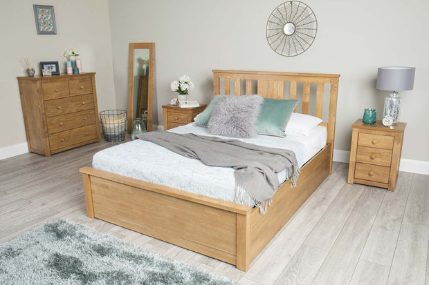Chester Oak Ottoman Storage Bed Frame - 4ft Small Double - The Oak Bed Store
