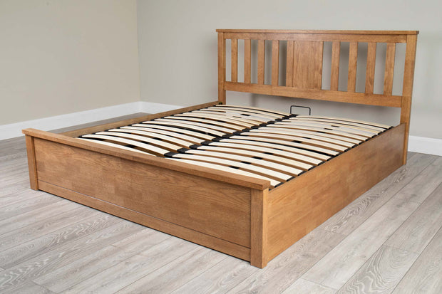 Chester Medium Oak Ottoman Storage Bed Frame - 6ft Super King - The Oak Bed Store