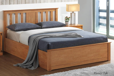 Chester Honey Oak Ottoman Storage Bed Frame - 4ft6 Double - The Oak Bed Store