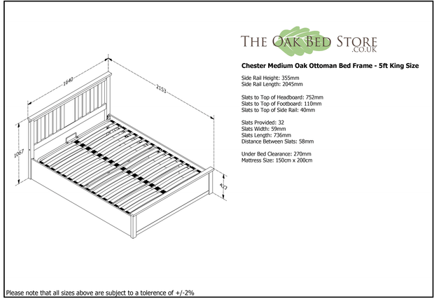 Chester Oak Ottoman Storage Bed Frame - 5ft King Size - The Oak Bed Store