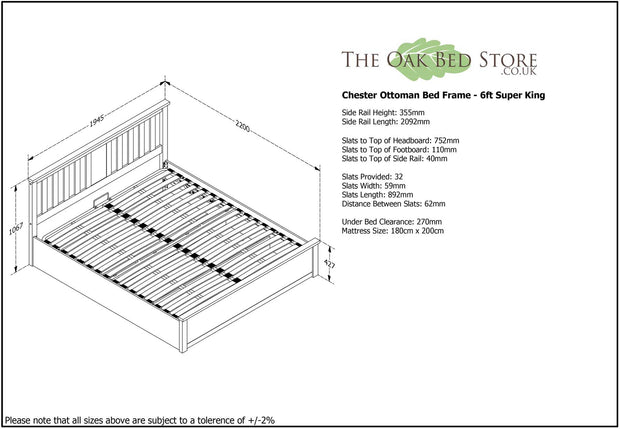 Chester Oak Ottoman Storage Bed Frame - 6ft Super King - The Oak Bed Store