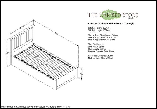 Chester Light Grey Ottoman Storage Bed Frame - 3ft Single - The Oak Bed Store