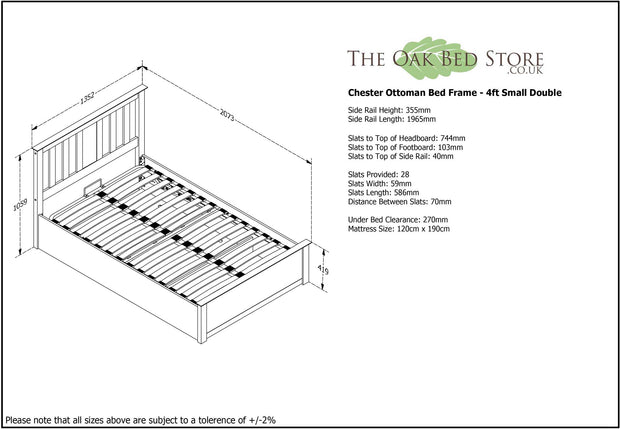 Chester White Ottoman Storage Bed Frame - 4ft Small Double - The Oak Bed Store