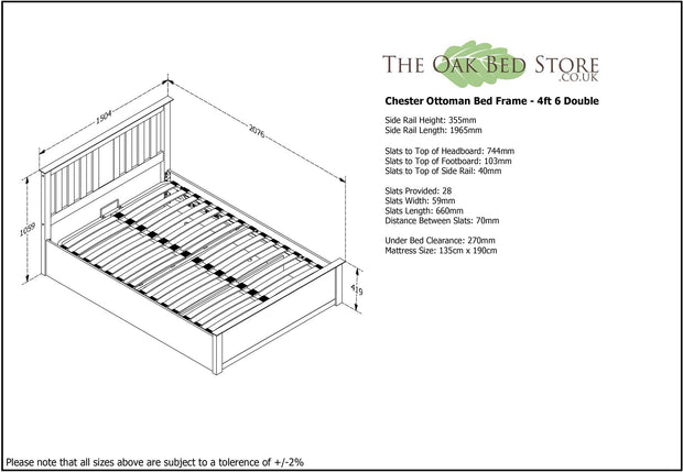 Chester Bright White Ottoman Storage Bed Frame - 4ft6 Double - The Oak Bed Store