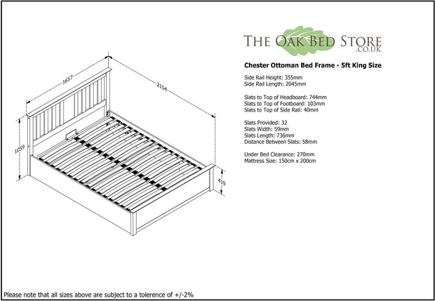 Chester Light Grey Ottoman Storage Bed Frame - 5ft King Size