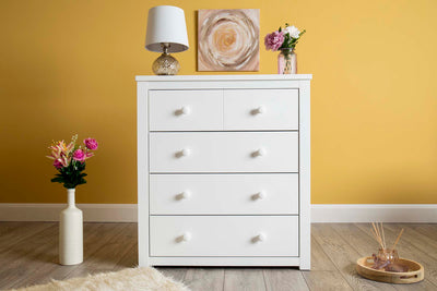 Chester Bright White 2 Over 3 Chest of Drawers - The Oak Bed Store