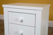 Chester Bright White 2+1 Bedside Table - The Oak Bed Store
